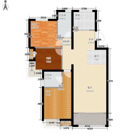 中国水电・海赋外滩3室1厅2卫1厨130.00㎡户型图