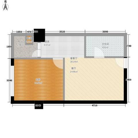 美力・com1室1厅1卫0厨56.00㎡户型图