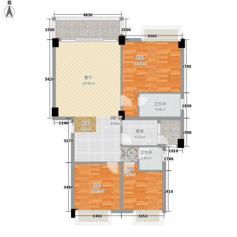 大福名城3室1厅2卫1厨131.00㎡户型图