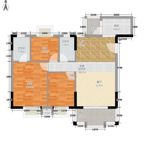 威斯登堡3室0厅2卫1厨104.00㎡户型图