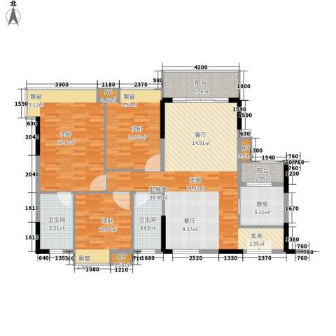 东田丽园五期3室0厅2卫1厨117.00㎡户型图