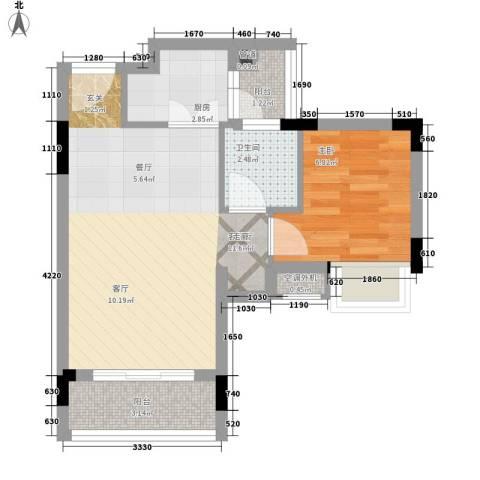 星座尚筑1室1厅1卫1厨41.00㎡户型图