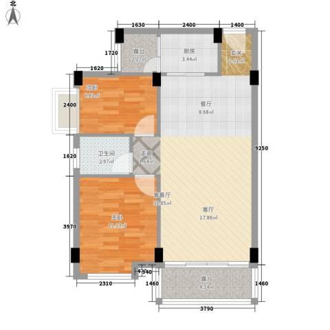 大福名城2室1厅1卫1厨69.00㎡户型图