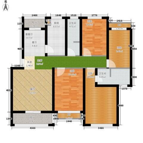 百佳华大厦4室1厅2卫1厨121.00㎡户型图