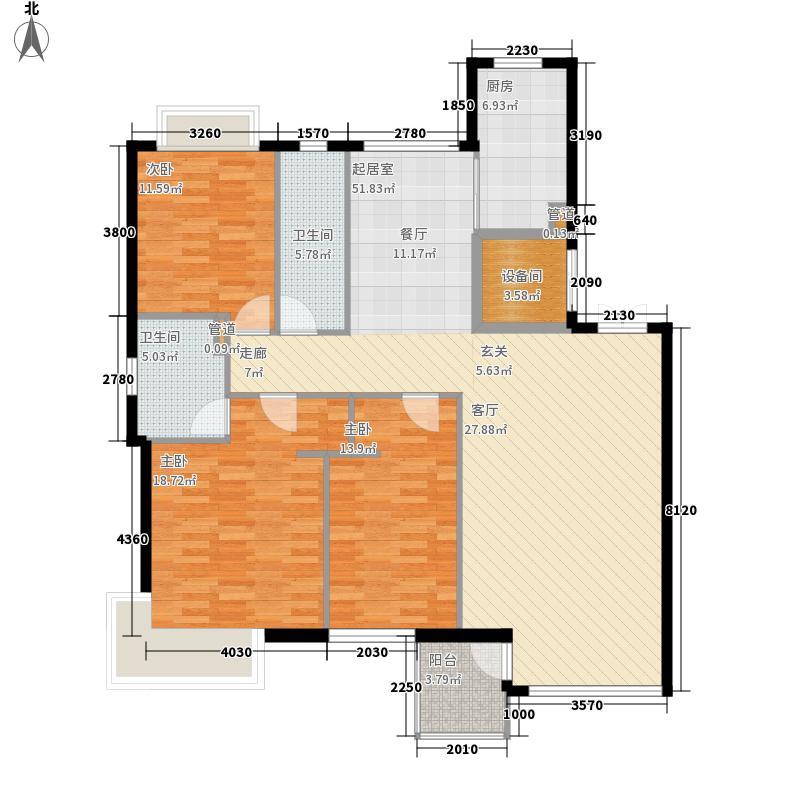 翰林观海134.29㎡翰林观海户型图G户型靓丽一生3室2厅2卫1厨户型3室2厅2卫1厨
