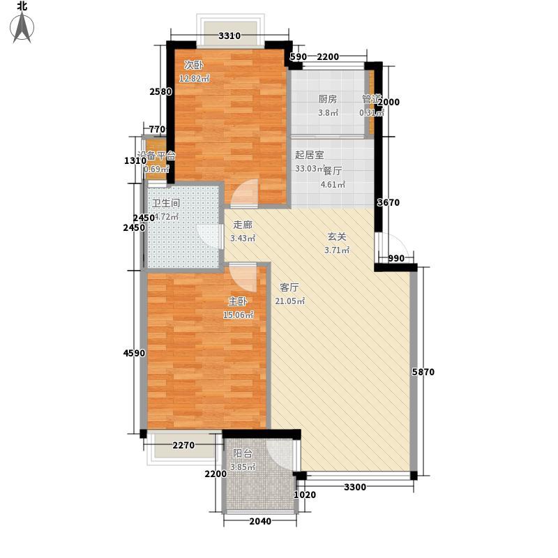 翰林观海81.55㎡翰林观海户型图A户型浪漫格调2室2厅1卫1厨户型2室2厅1卫1厨
