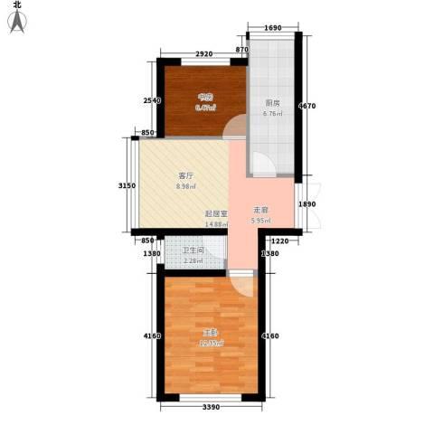 阳光帝景2室0厅1卫1厨76.00㎡户型图