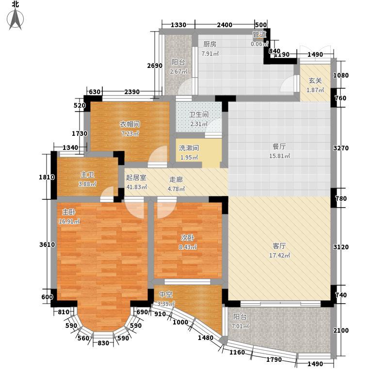 卧龙山庄123.85㎡卧龙山庄户型图四号楼标准层D33室2厅2卫1厨户型3室2厅2卫1厨