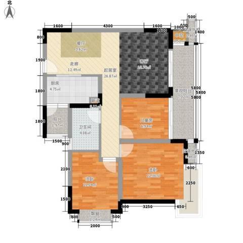 北回归线3室0厅1卫1厨75.63㎡户型图