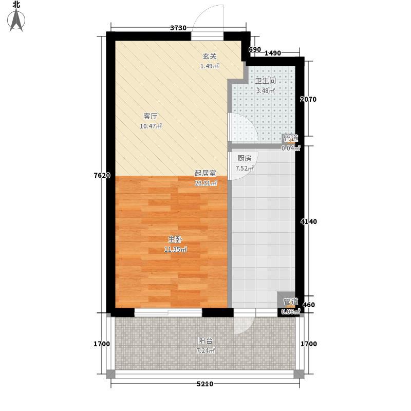碧水湾47.56㎡碧水湾户型图紧凑一居户型1室1厅1卫1厨户型1室1厅1卫1厨