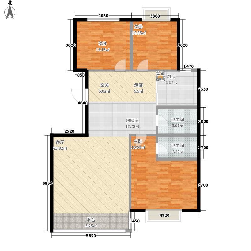 澳华城市花园户型图12号楼B户型 3室2厅2卫1厨