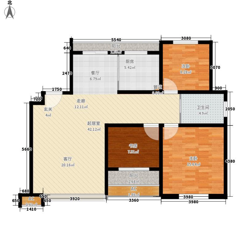 农房索河湾103.51㎡花园洋房户型3室2厅