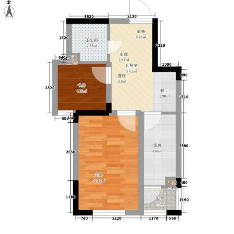 富苑华城2室0厅1卫1厨52.00㎡户型图