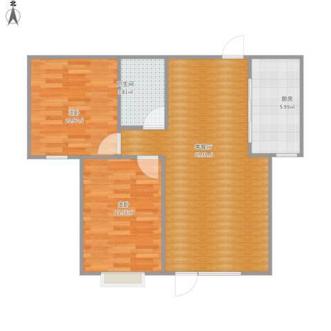 香缇苑2室1厅1卫1厨80.00㎡户型图