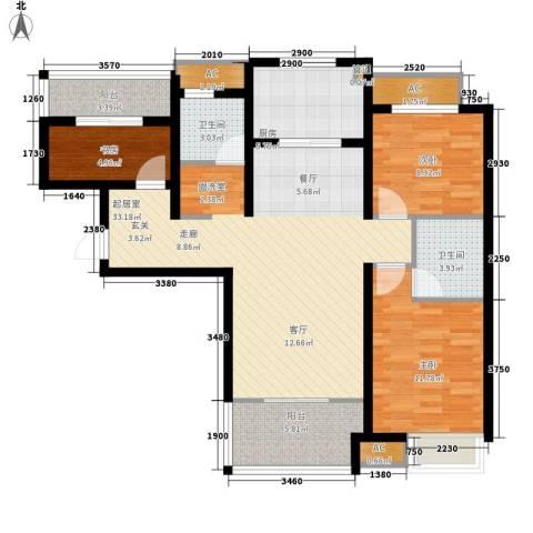 潮白河孔雀城剑桥郡3室0厅2卫1厨98.00㎡户型图