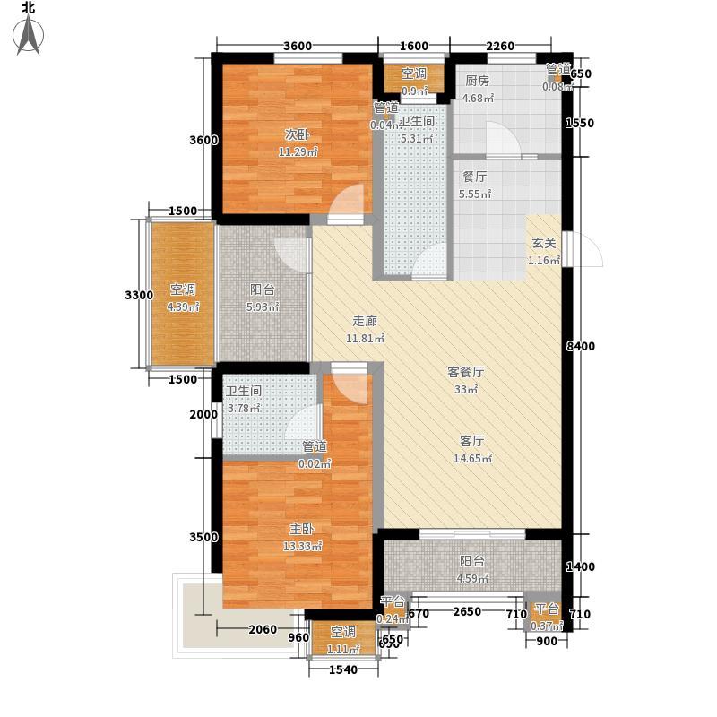 富立秦皇半岛119.36㎡C1ˊ偶数层户型2室2厅