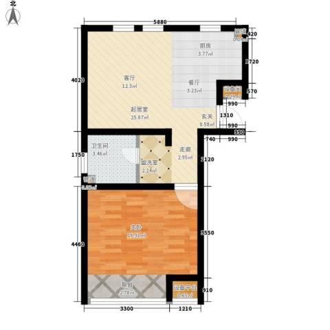 力旺塞歌维亚1室0厅1卫0厨70.00㎡户型图
