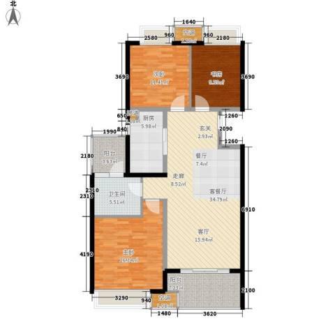 无锡万达文化旅游城3室1厅1卫1厨109.57㎡户型图
