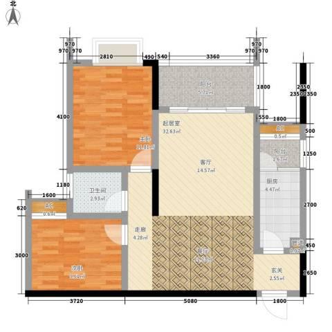 恒远帝都新城2室0厅1卫1厨102.00㎡户型图