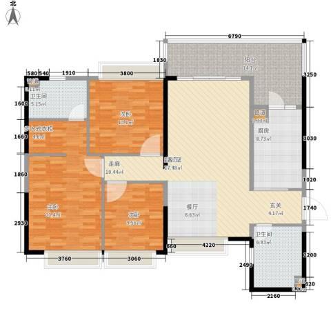 济南恒大名都3室0厅2卫1厨135.00㎡户型图