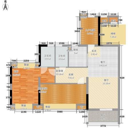 天马河壹号三期・御景湾1室0厅2卫1厨102.00㎡户型图