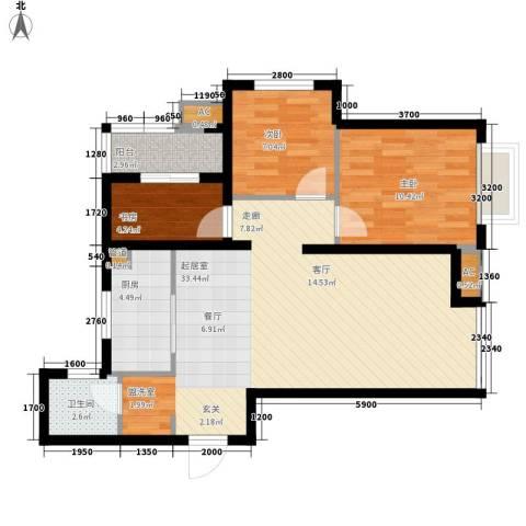 潮白河孔雀城剑桥郡3室0厅1卫1厨84.00㎡户型图