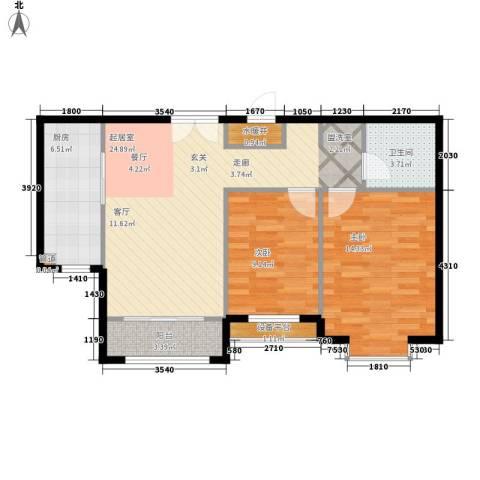 蓝色理想2室0厅1卫1厨85.00㎡户型图