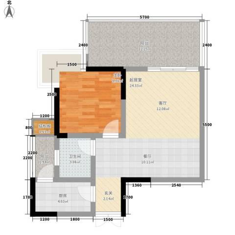 张坝・天府花园1室0厅1卫1厨81.00㎡户型图