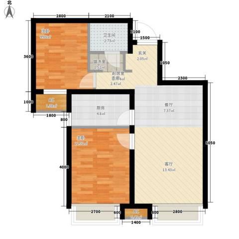 潮白河孔雀城剑桥郡2室0厅1卫1厨78.00㎡户型图