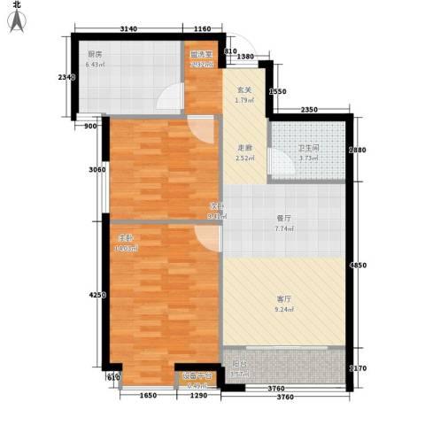 蓝色理想2室0厅1卫1厨84.00㎡户型图