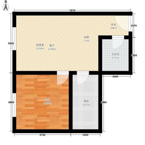 唯C商务广场1室0厅1卫1厨66.00㎡户型图