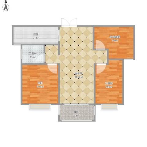 新乡获嘉欧洲小镇2室1厅1卫1厨77.00㎡户型图