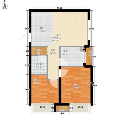 潮白河孔雀城剑桥郡2室0厅1卫1厨74.00㎡户型图