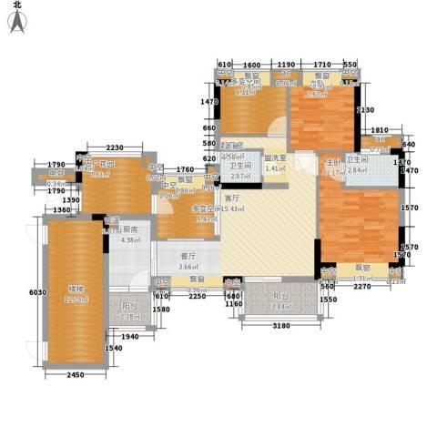 天马河壹号三期・御景湾2室0厅2卫1厨106.00㎡户型图