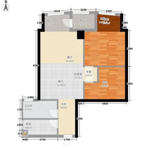 东翠花园银涛阁2室0厅1卫1厨76.00㎡户型图