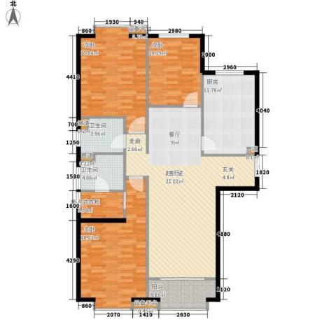 蓝色理想3室0厅2卫1厨150.00㎡户型图