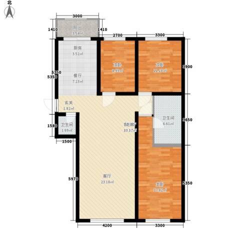 水岸康居3室1厅2卫0厨125.00㎡户型图
