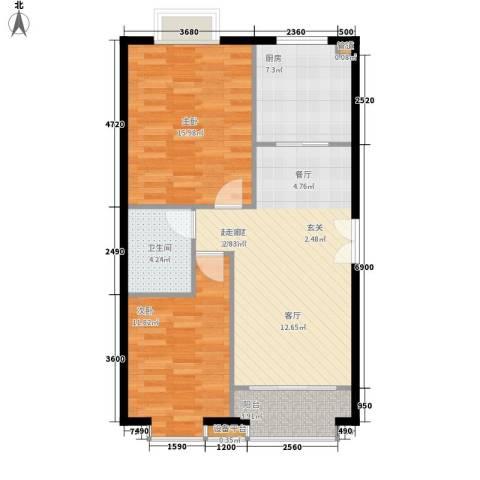 蓝色理想2室0厅1卫1厨97.00㎡户型图