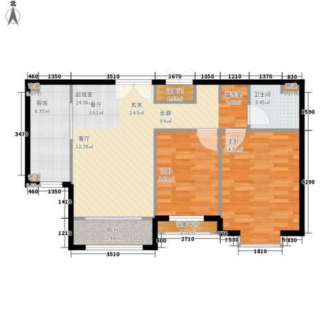 蓝色理想2室0厅1卫1厨91.00㎡户型图