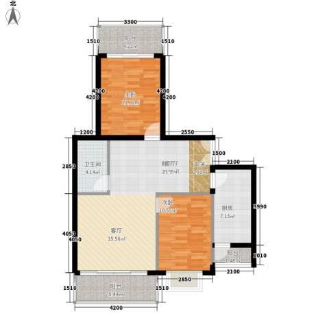 南山花园2室1厅1卫1厨96.00㎡户型图