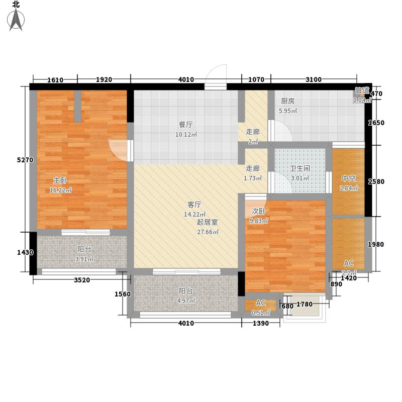 集成居90.00㎡集成居户型图小高层户型2室2厅1卫1厨户型2室2厅1卫1厨
