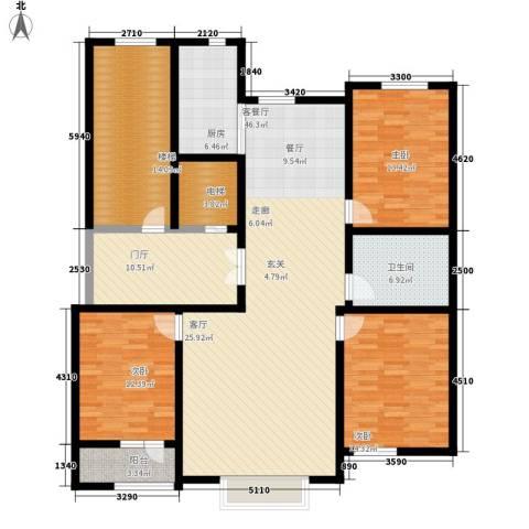 实华・金域蓝湾3室1厅1卫1厨187.00㎡户型图