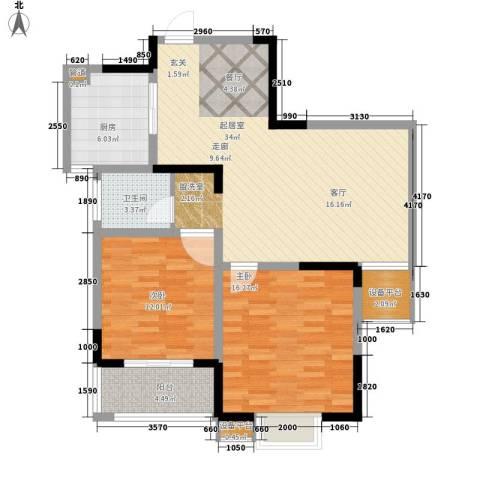 好运理想城2室0厅1卫1厨90.00㎡户型图