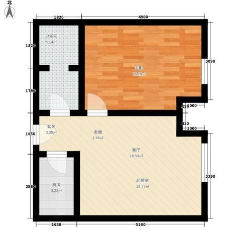 唯C商务广场1室0厅1卫1厨53.00㎡户型图