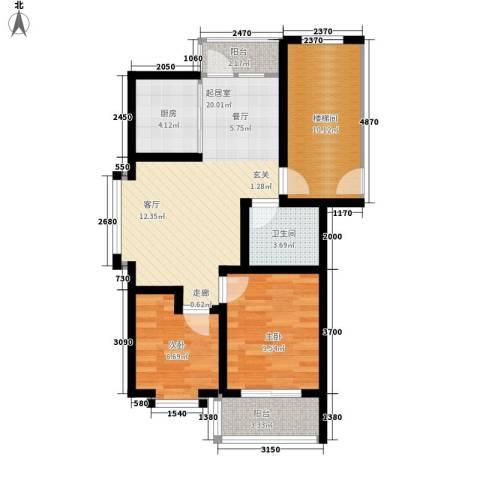 温阳海港城2室0厅1卫1厨69.00㎡户型图