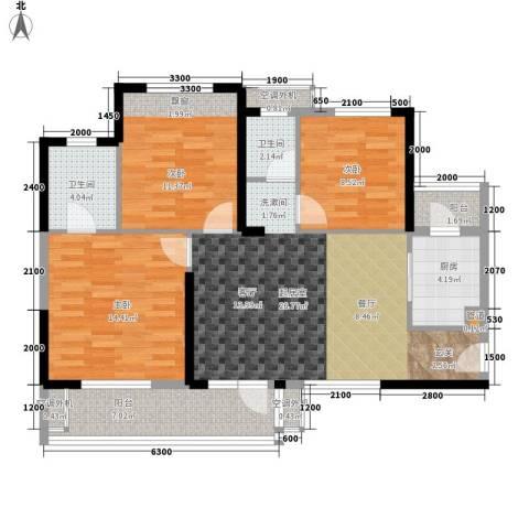 建鸿达现代城3室0厅2卫1厨118.00㎡户型图