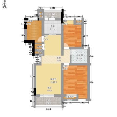 索罗巷小区2室1厅1卫1厨43.00㎡户型图