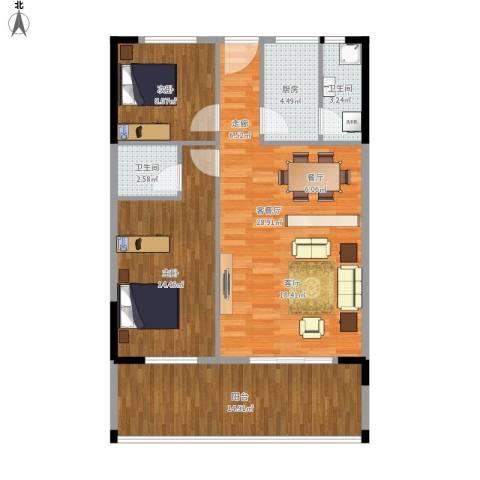 丽湾花园2室1厅2卫1厨106.00㎡户型图