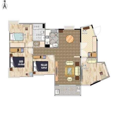 复地城就4室1厅2卫1厨131.00㎡户型图