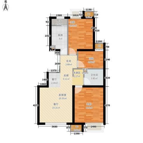 远洋新干线3室0厅1卫1厨90.00㎡户型图
